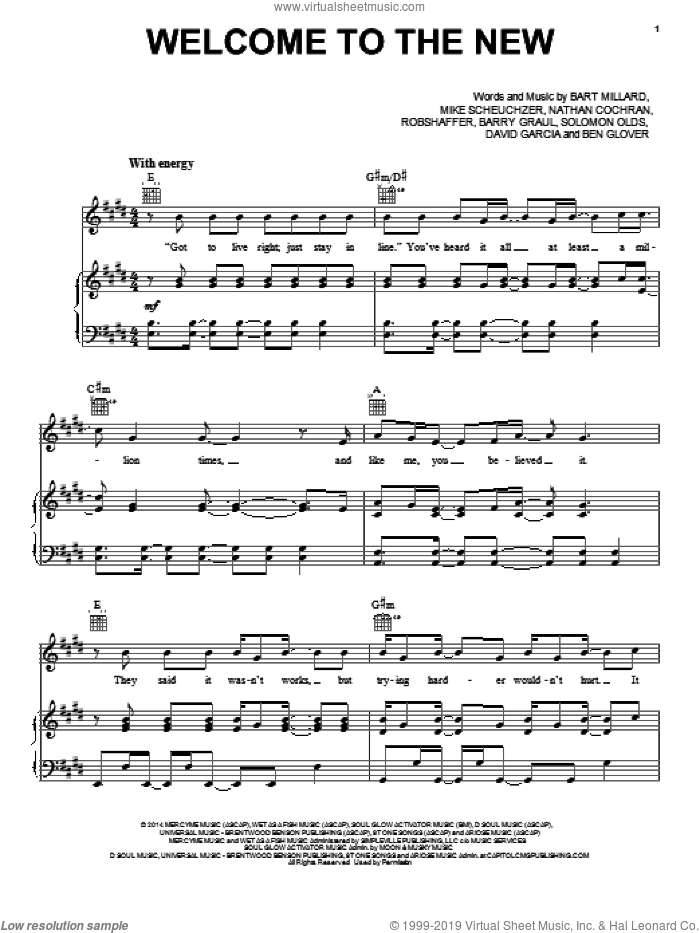 Welcome To The New sheet music for voice, piano or guitar by MercyMe, Barry Graul, Bart Millard, Ben Glover, David Garcia, Mike Scheuchzer, Nathan Cochran, Robshaffer and Solomon Olds, intermediate