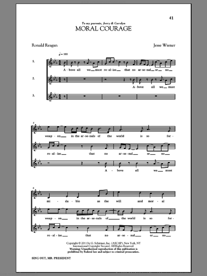 Moral Courage sheet music for choir and piano by Ronald Reagan. Score Image Preview.