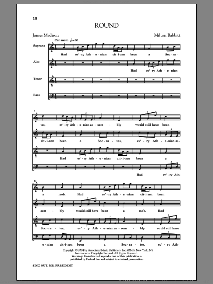 Round sheet music for choir and piano by James Madison