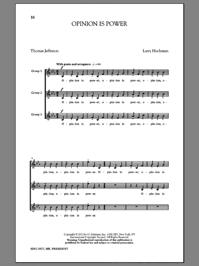 Opinion Is Power sheet music for choir and piano by Thomas Jefferson and Larry Hochman. Score Image Preview.