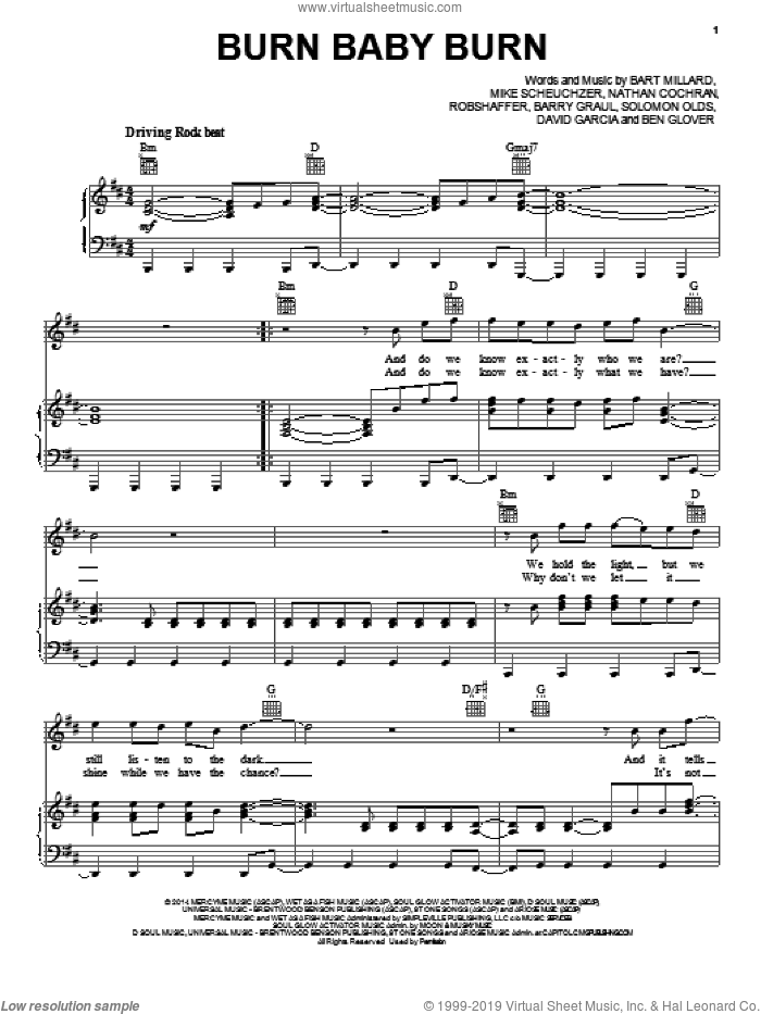 Burn Baby Burn sheet music for voice, piano or guitar by MercyMe, Barry Graul, Bart Millard, Ben Glover, David Garcia, Mike Scheuchzer, Nathan Cochran, Robshaffer and Solomon Olds, intermediate skill level