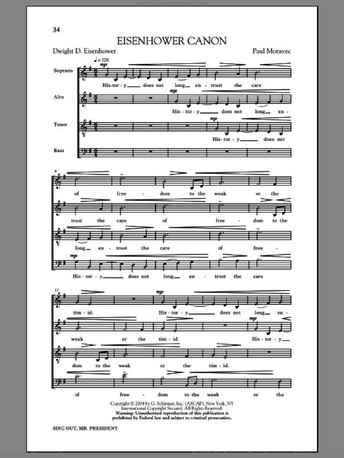 Eisenhower Round sheet music for choir by Paul Moravec, intermediate choir. Score Image Preview.