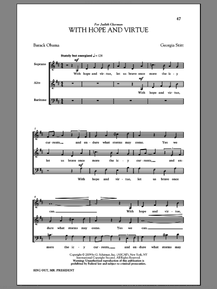 With Hope And Virtue sheet music for choir and piano by Barack Obama and Georgia Stitt. Score Image Preview.