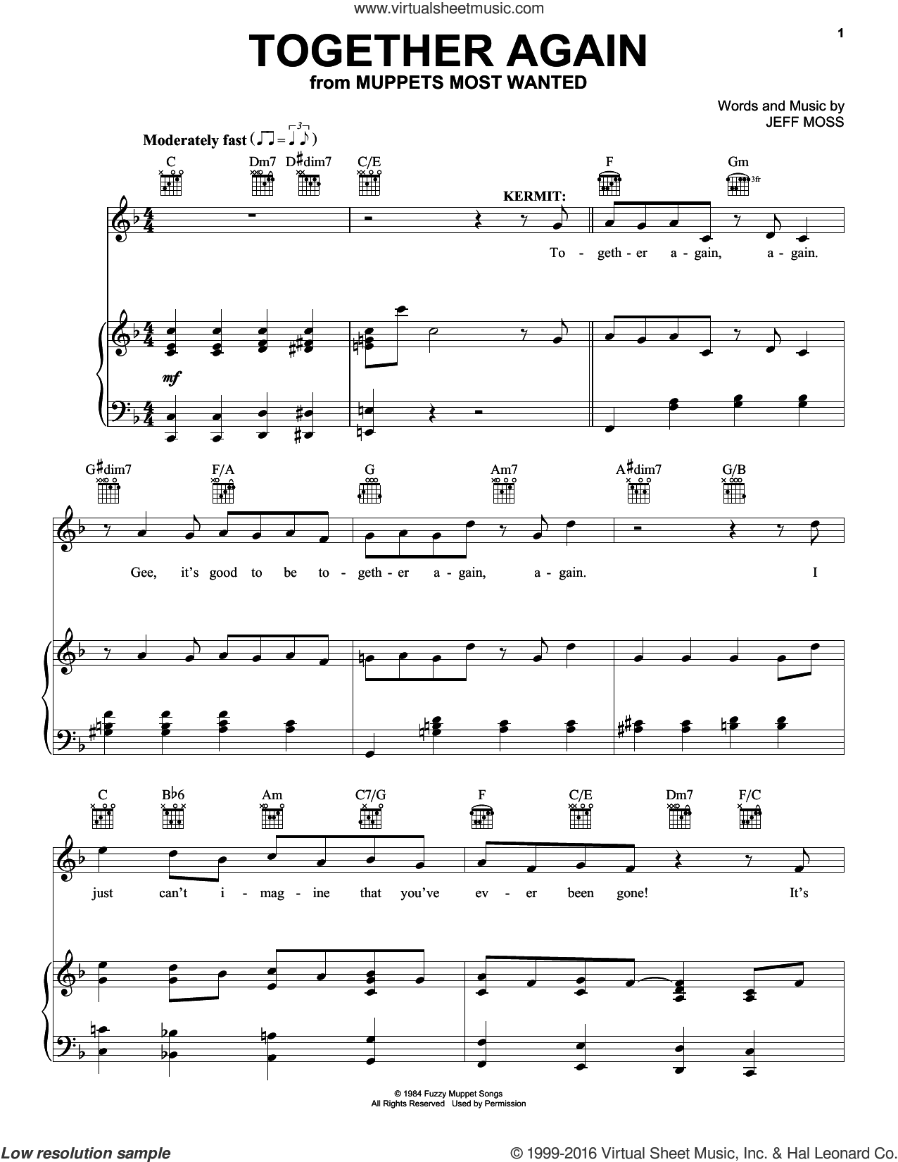 Together Again sheet music for voice, piano or guitar by Jeff Moss, intermediate skill level