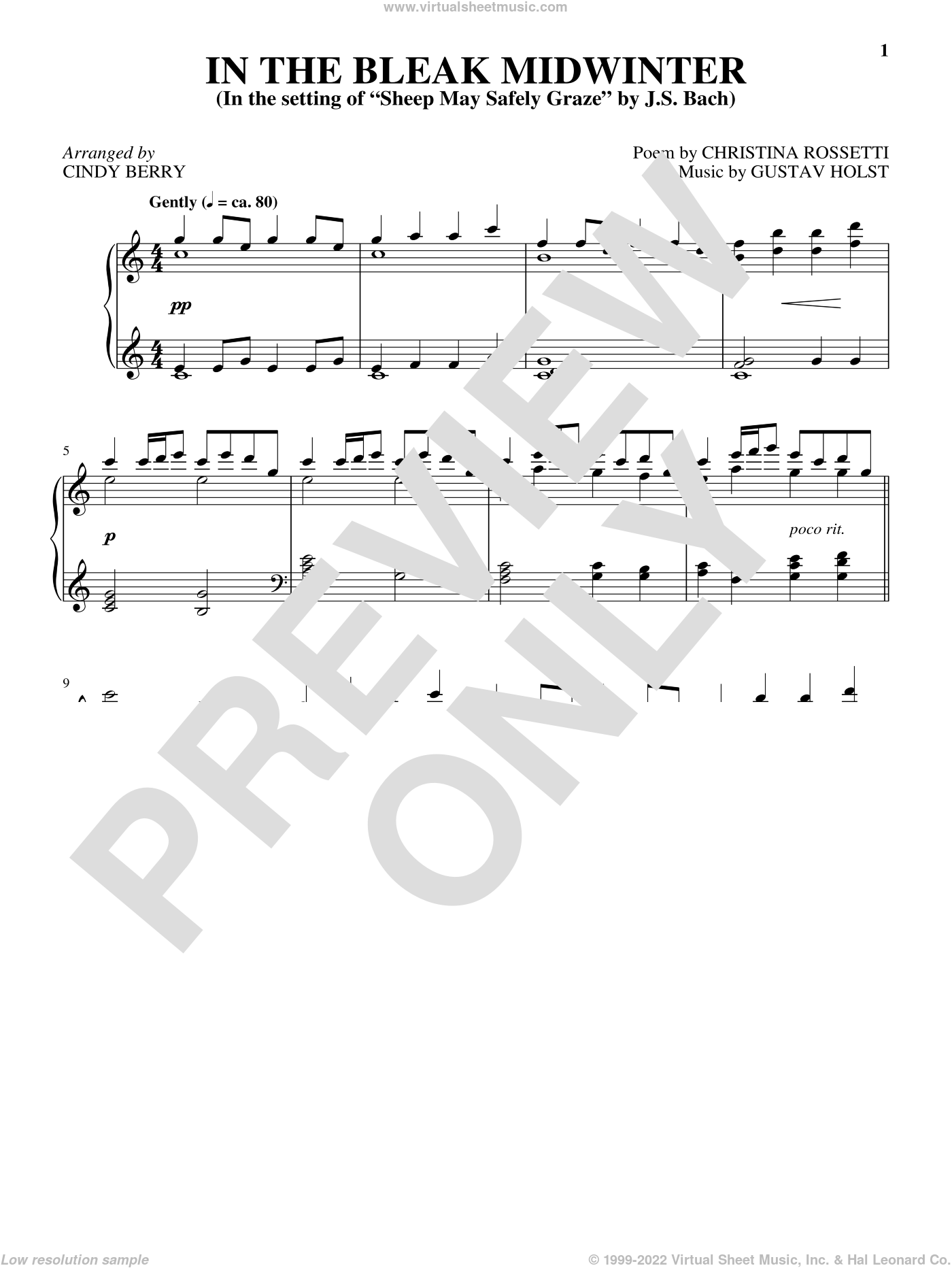 In The Bleak Midwinter, (intermediate) sheet music for piano solo by Gustav Holst, Christina Rossetti and Cindy Berry, intermediate skill level