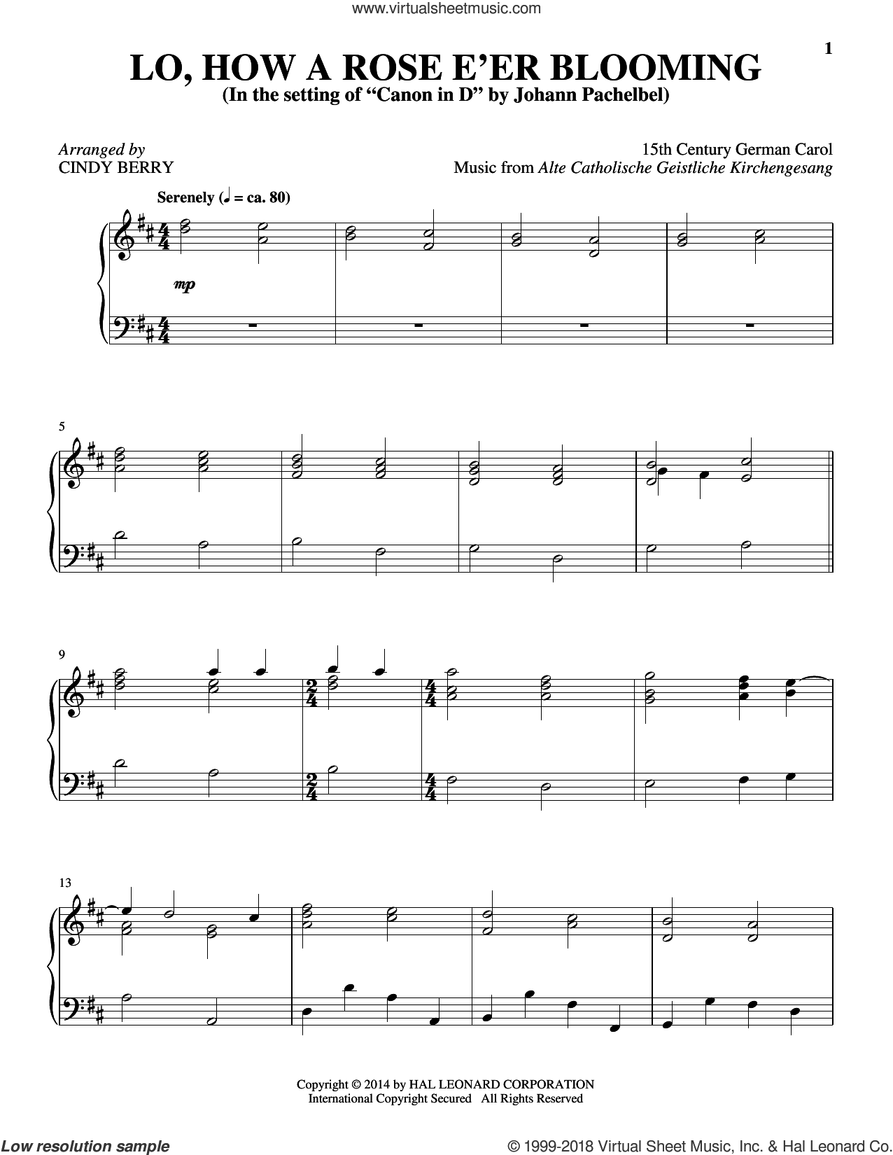 Lo, How A Rose E'er Blooming sheet music for piano solo by Theodore Baker and Cindy Berry. Score Image Preview.
