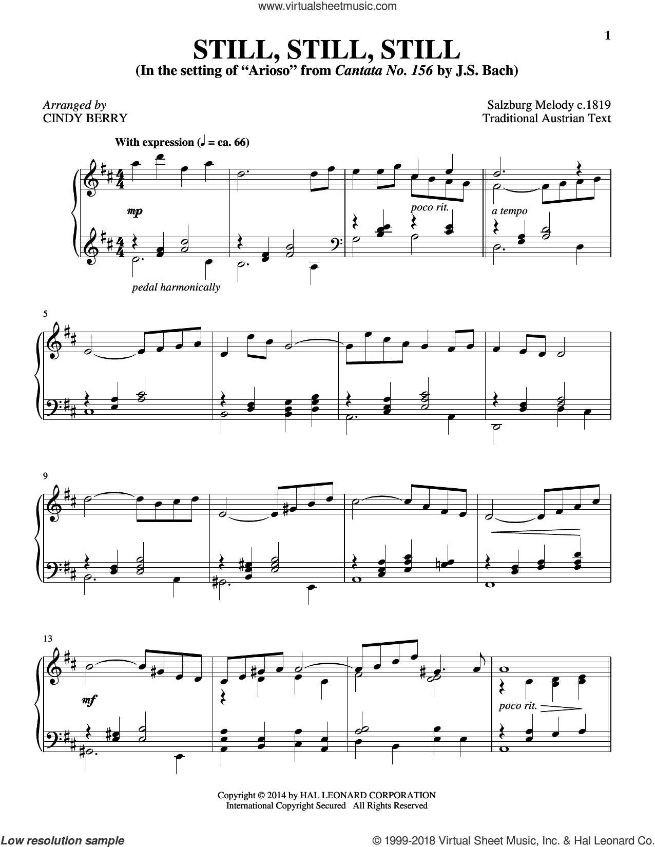 Still, Still, Still sheet music for piano solo by Cindy Berry and Miscellaneous, intermediate. Score Image Preview.