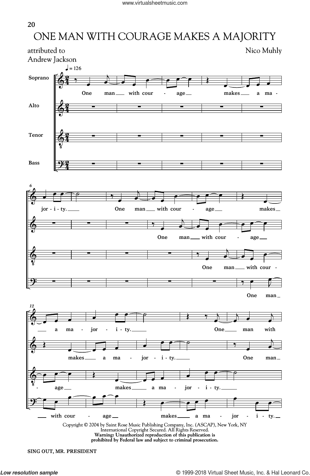 One Man With Courage Makes A Majority sheet music for choir by Nico Muhly and Andrew Jackson, intermediate skill level