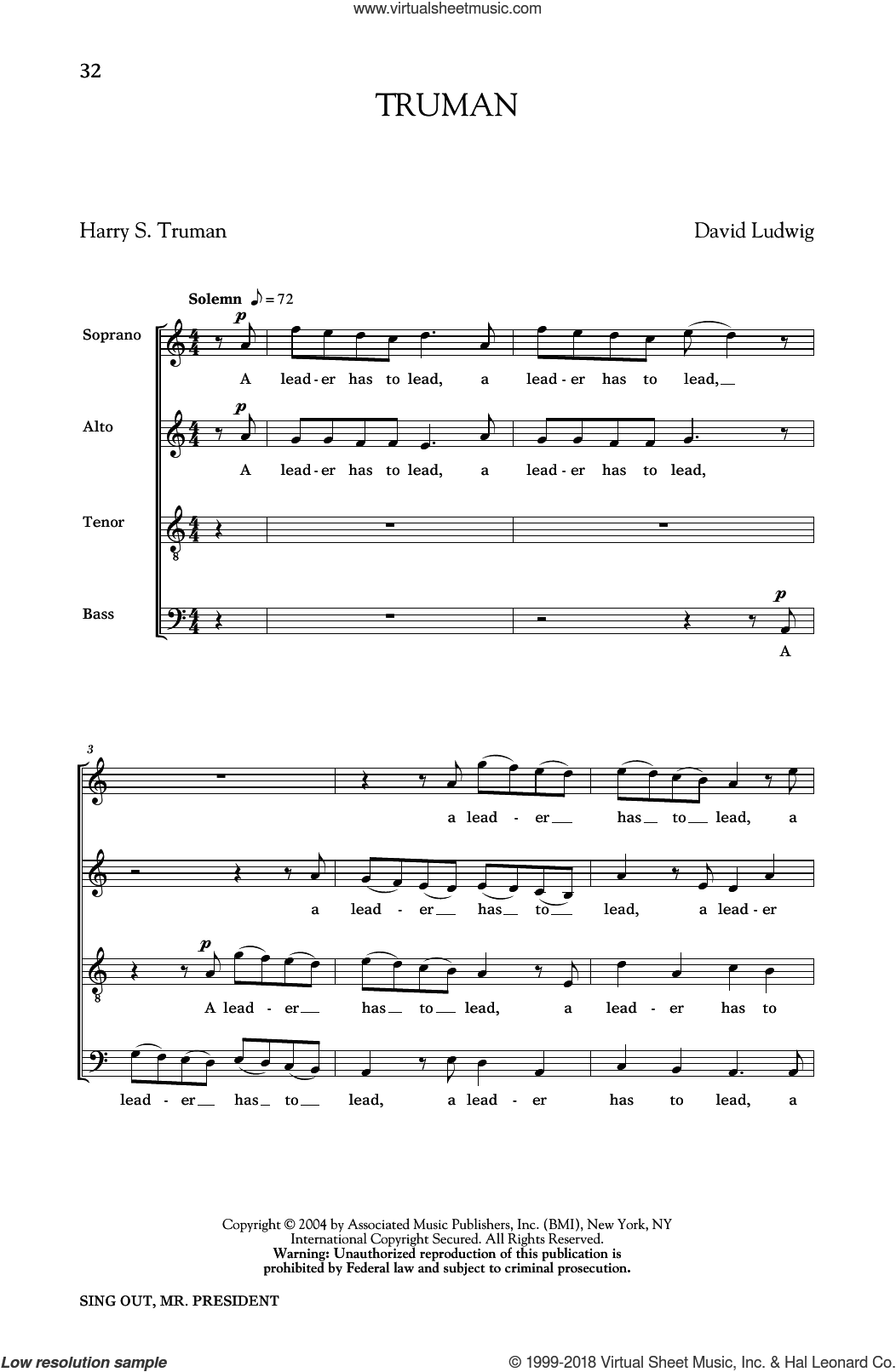 Truman sheet music for choir and piano by Harry Truman and David Ludwig. Score Image Preview.
