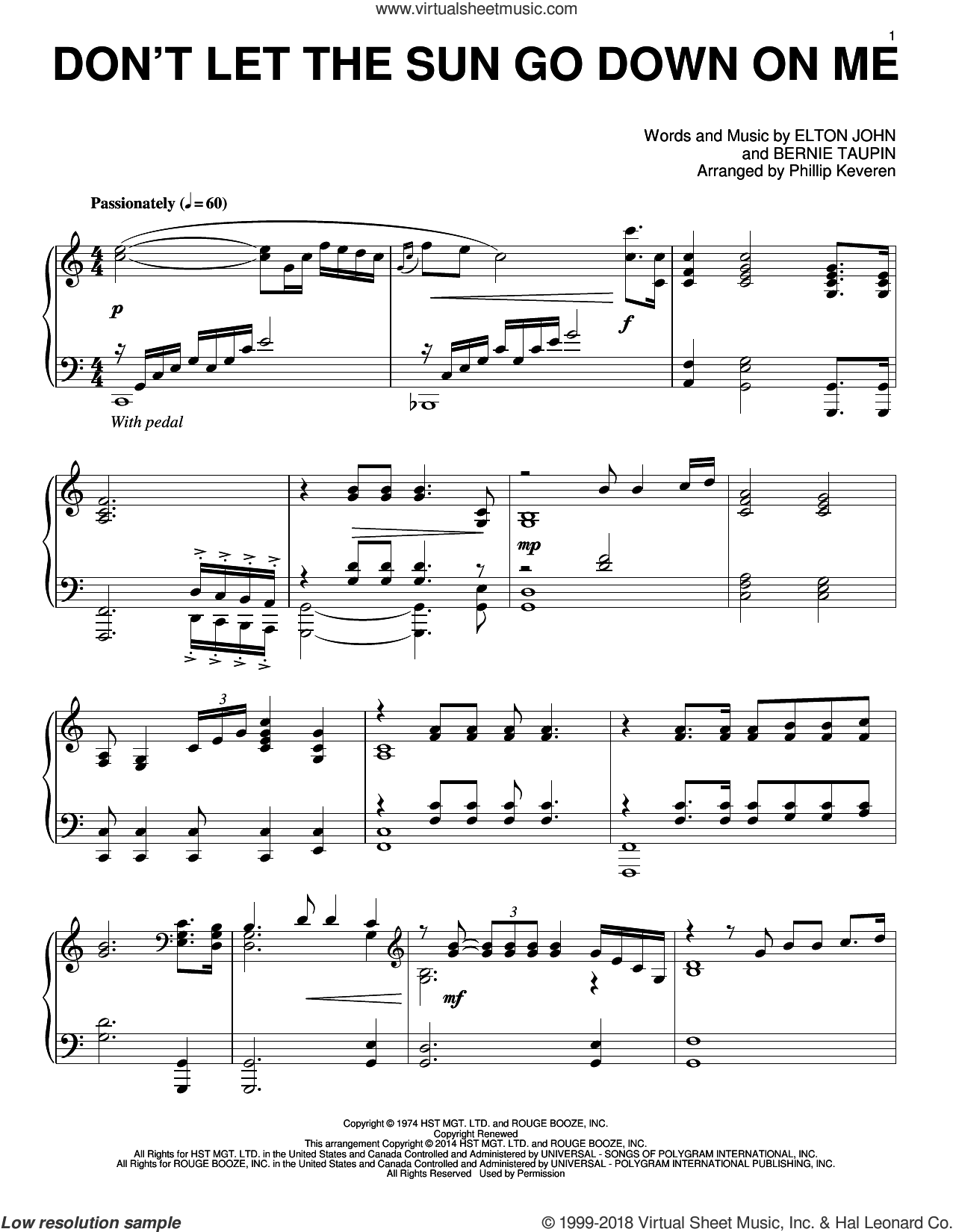 Don't Let The Sun Go Down On Me sheet music for piano solo by Phillip Keveren, Bernie Taupin, David Archuleta, Elton John and Elton John & George Michael, intermediate skill level