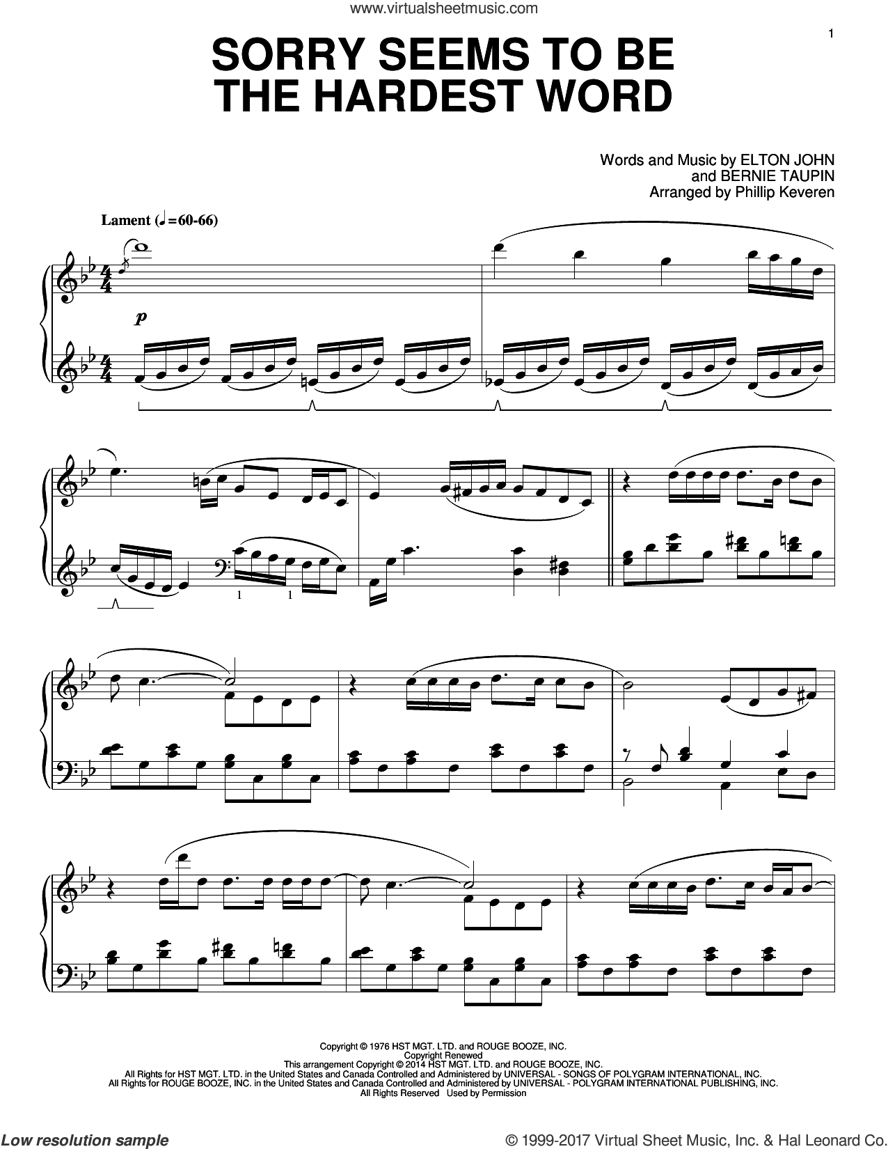 Sorry Seems To Be The Hardest Word sheet music for piano solo by Phillip Keveren, Bernie Taupin and Elton John, intermediate skill level