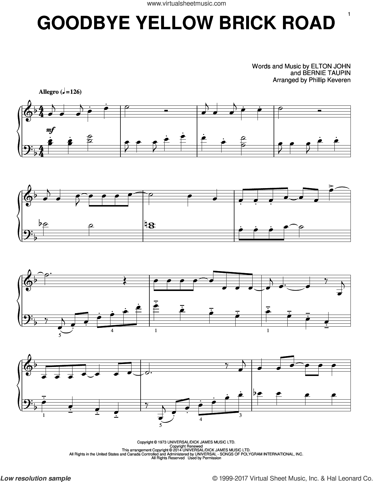 Goodbye Yellow Brick Road sheet music for piano solo by Phillip Keveren, Bernie Taupin and Elton John, intermediate skill level