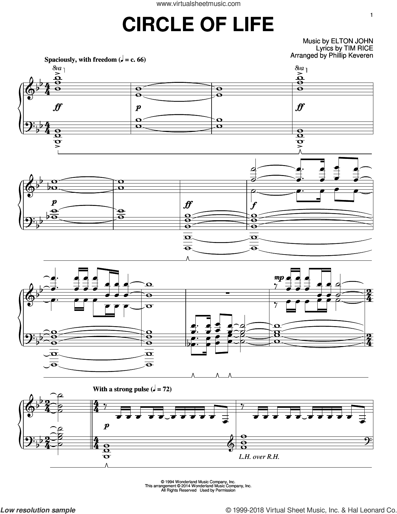 Circle Of Life [Classical version] (arr. Phillip Keveren) sheet music for piano solo by Phillip Keveren, Elton John and Tim Rice, intermediate skill level