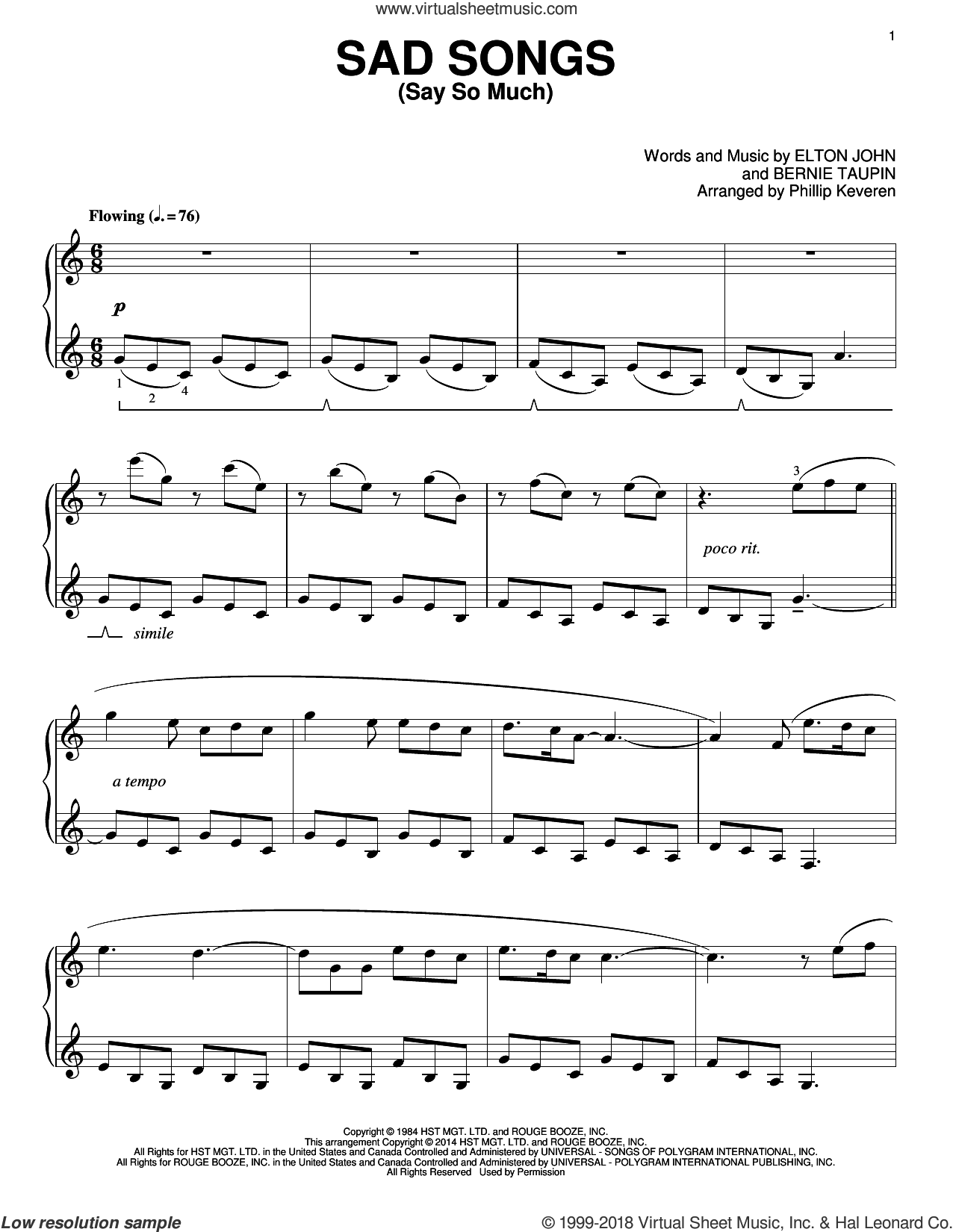 Sad Songs (Say So Much) sheet music for piano solo by Phillip Keveren, Bernie Taupin and Elton John, intermediate skill level
