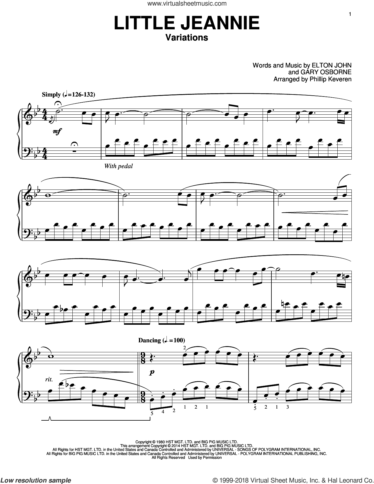 Little Jeannie sheet music for piano solo by Phillip Keveren and Elton John, intermediate piano. Score Image Preview.