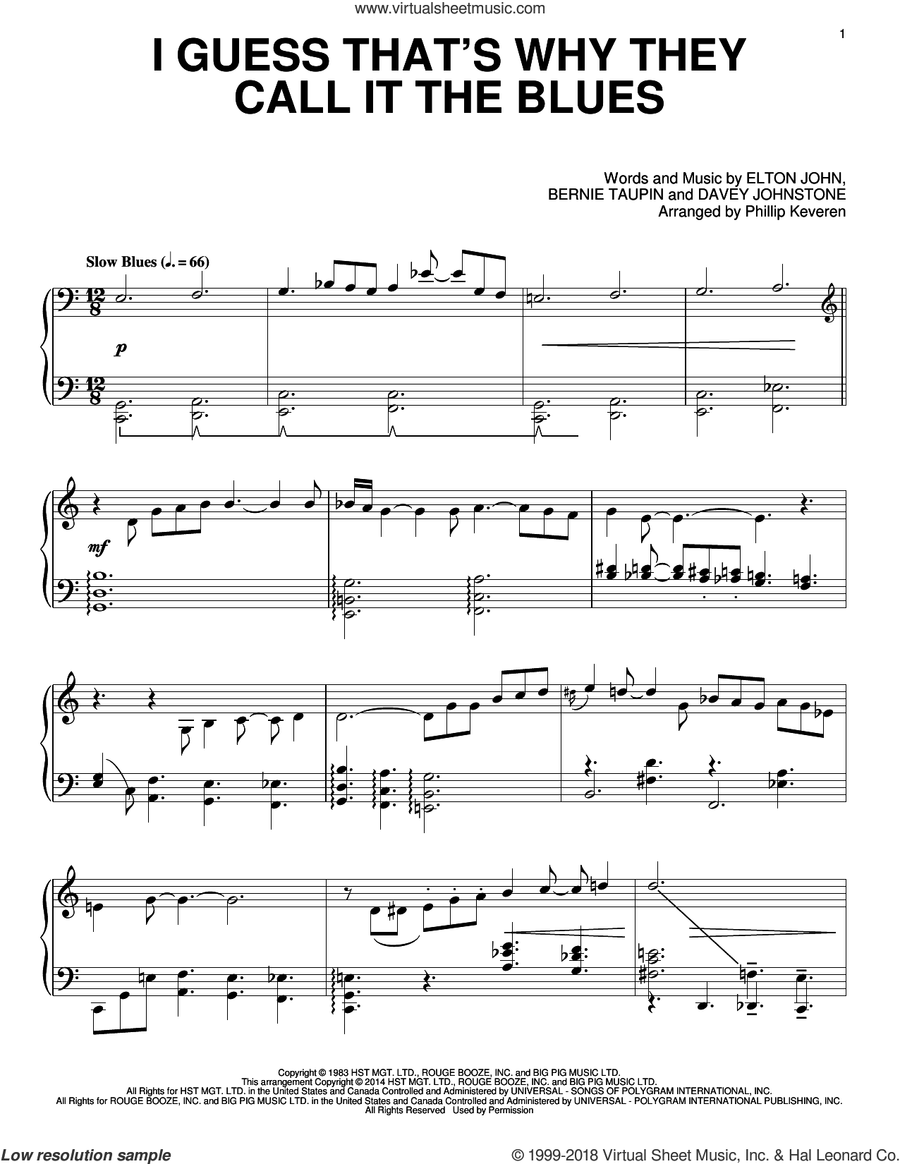 I Guess That's Why They Call It The Blues sheet music for piano solo by Davey Johnstone, Bernie Taupin, Elton John and Phillip Keveren. Score Image Preview.