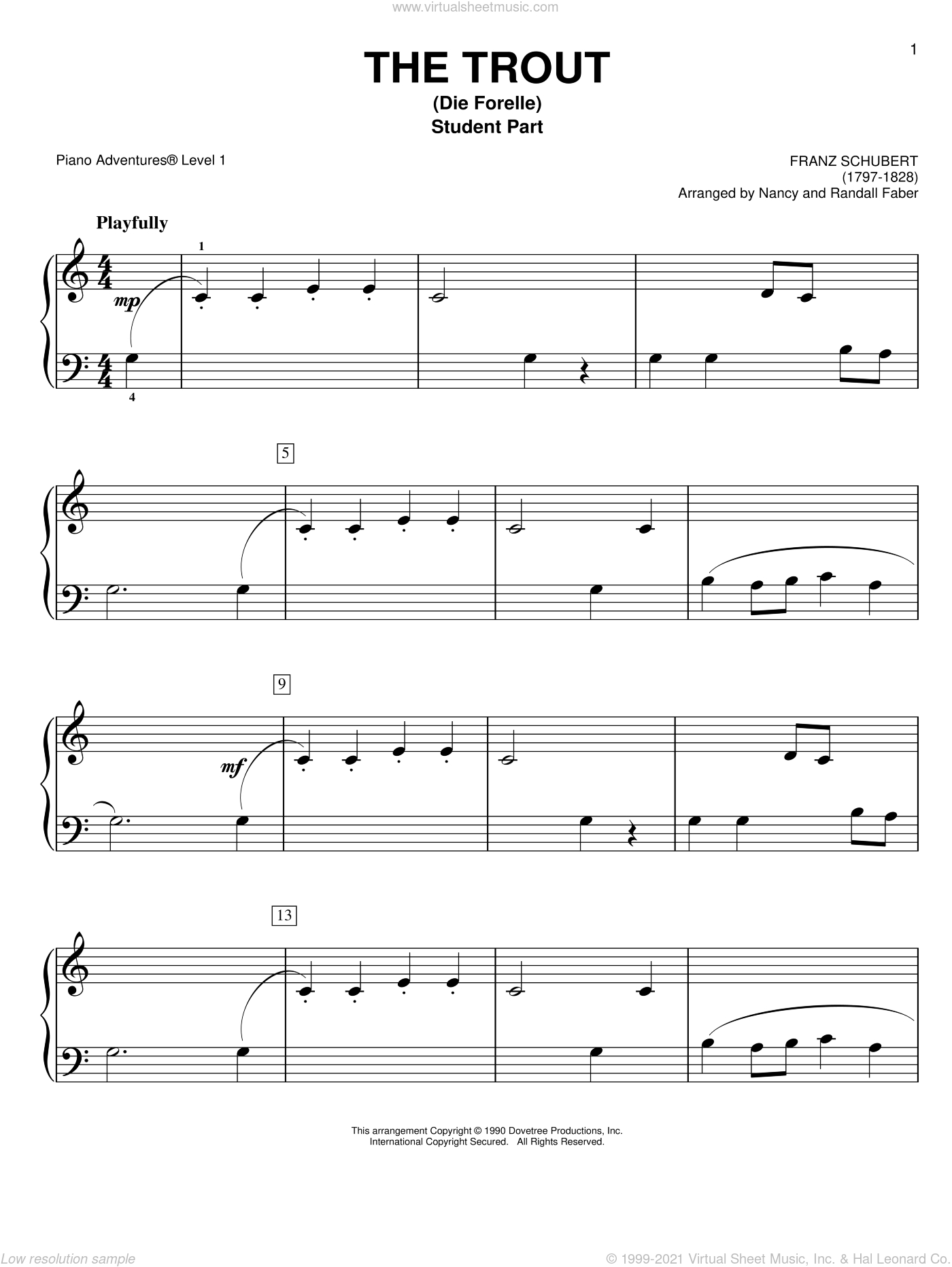 The Trout (Die Forelle) sheet music for piano solo by Nancy and Randall Faber and Franz Schubert. Score Image Preview.