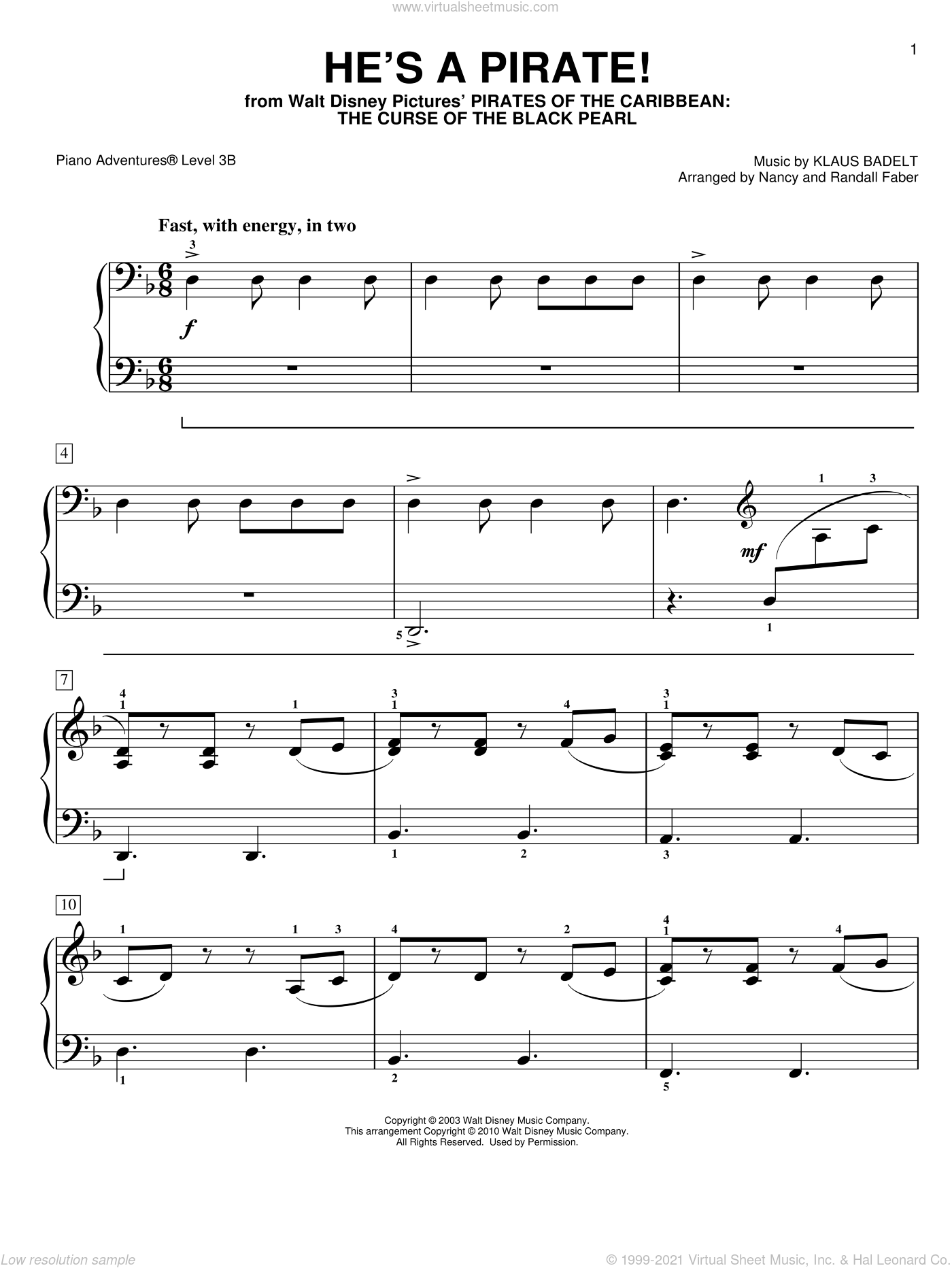 He's a Pirate sheet music for piano solo by Klaus Badelt and Nancy and Randall Faber, intermediate/advanced skill level