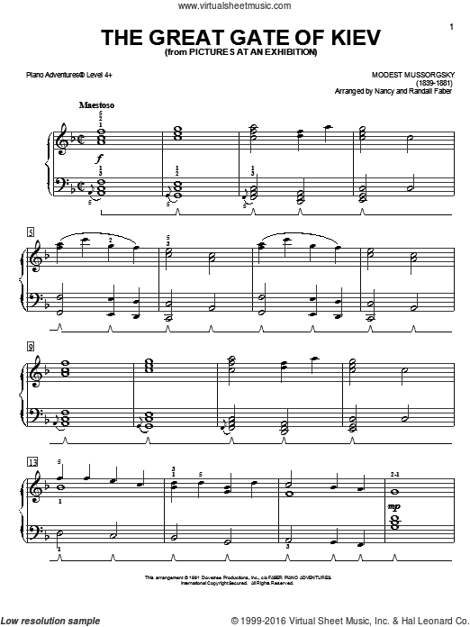 The Great Gate of Kiev sheet music for piano solo by Nancy and Randall Faber