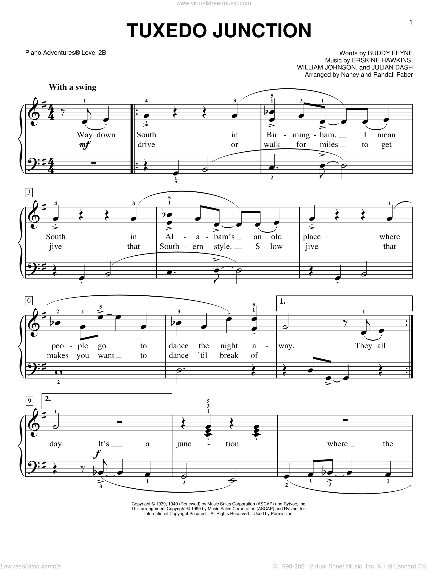 Tuxedo Junction sheet music for piano solo by Glenn Miller, Buddy Feyne, Erskine Hawkins, Julian Dash, Nancy and Randall Faber and William Johnson, intermediate/advanced skill level