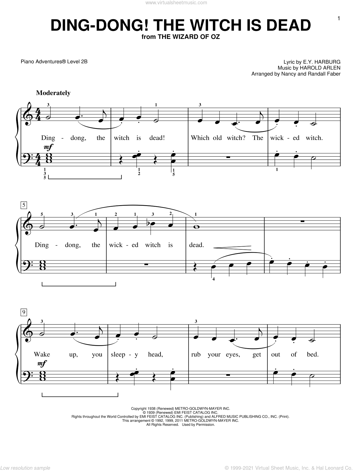 Ding-Dong! The Witch is Dead sheet music for piano solo by Nancy and Randall Faber