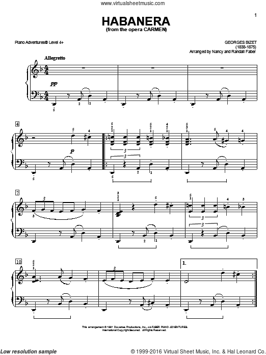 Habanera, from the opera Carmen sheet music for piano solo by Nancy and Randall Faber