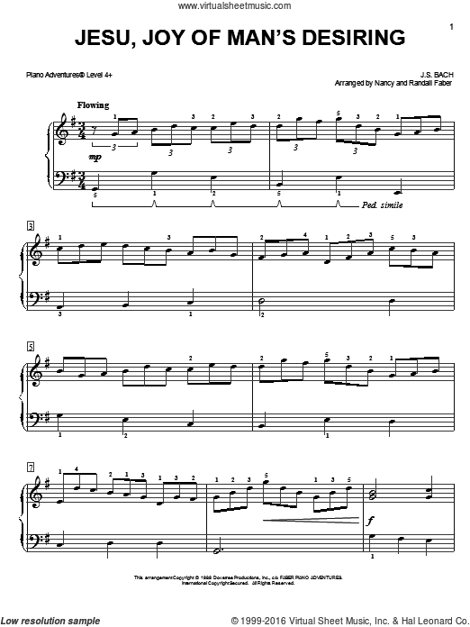 Jesu, Joy of Man's Desiring sheet music for piano solo by Nancy and Randall Faber and Johann Sebastian Bach. Score Image Preview.