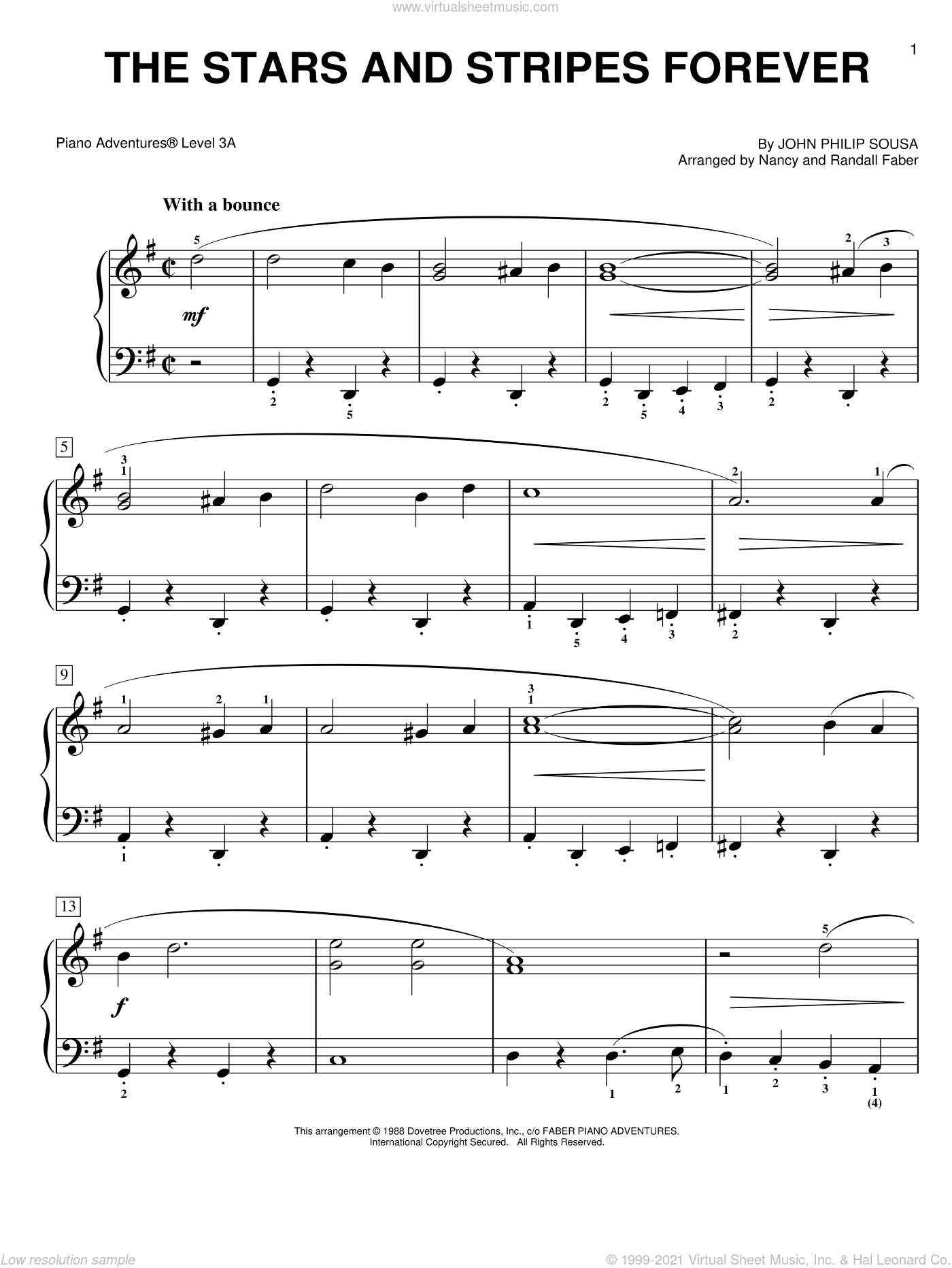The Stars and Stripes Forever sheet music for piano solo by John Philip Sousa and Nancy and Randall Faber, intermediate/advanced. Score Image Preview.