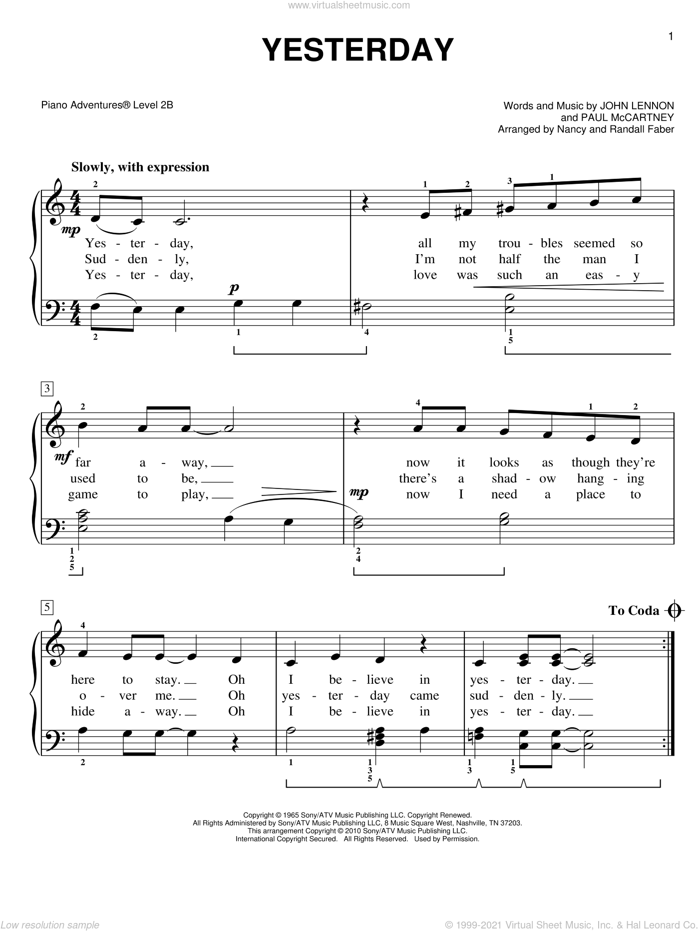 Yesterday sheet music for piano solo by The Beatles, John Lennon and Paul McCartney and Nancy and Randall Faber, intermediate/advanced skill level