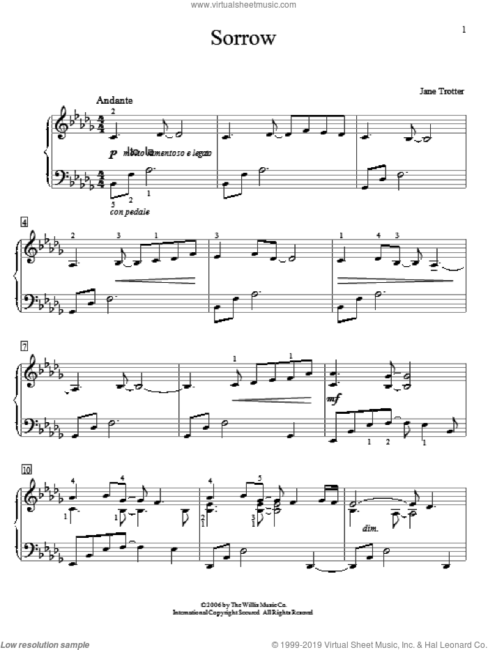 Sorrow sheet music for piano solo (elementary) by Jane Trotter, beginner piano (elementary)