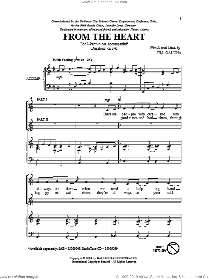 From The Heart sheet music for choir (duets) by Jill Gallina. Score Image Preview.