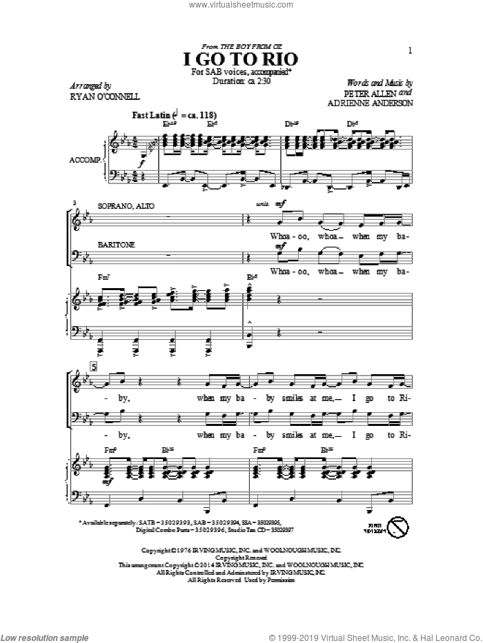 I Go To Rio sheet music for choir and piano (SAB) by Adrienne Anderson
