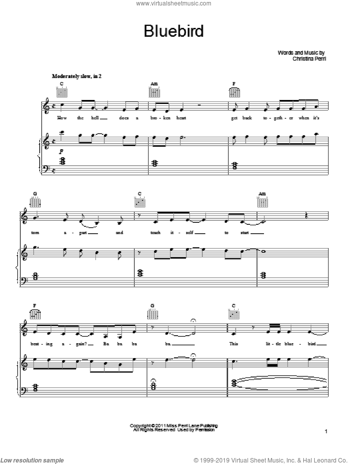Bluebird sheet music for voice, piano or guitar by Christina Perri, intermediate. Score Image Preview.