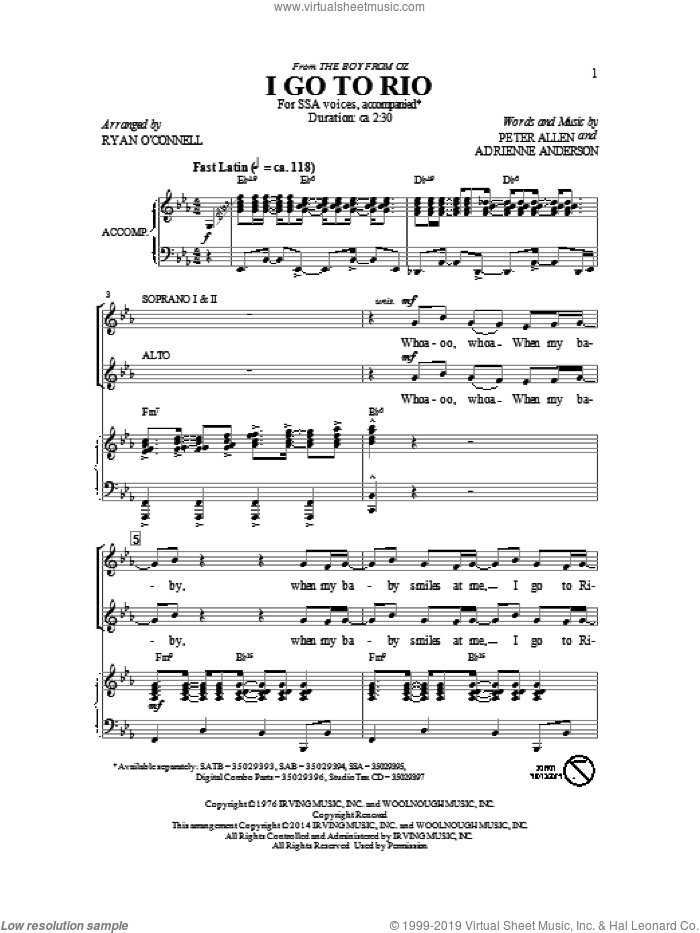 I Go To Rio sheet music for choir and piano (SSA) by Adrienne Anderson and Peter Allen. Score Image Preview.