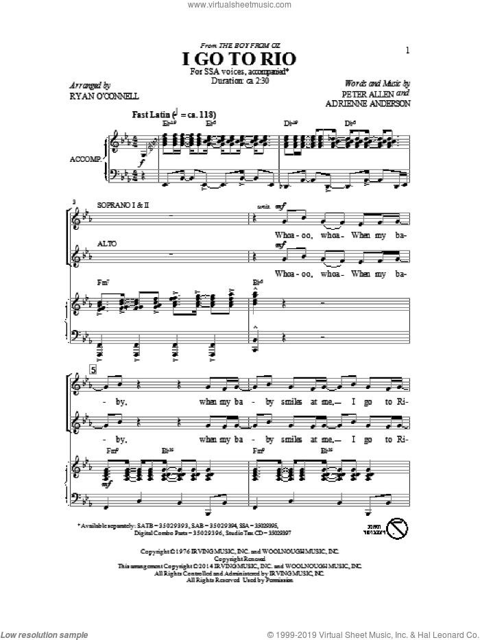 I Go To Rio sheet music for choir (SSA: soprano, alto) by Peter Allen, intermediate skill level
