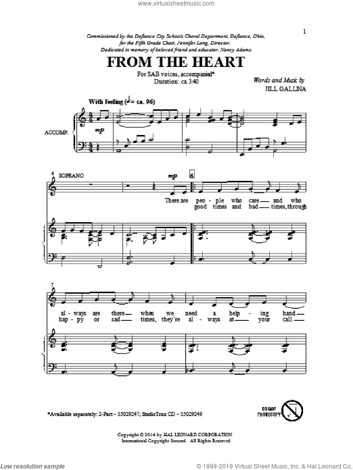 From The Heart sheet music for choir (SAB) by Jill Gallina, intermediate. Score Image Preview.