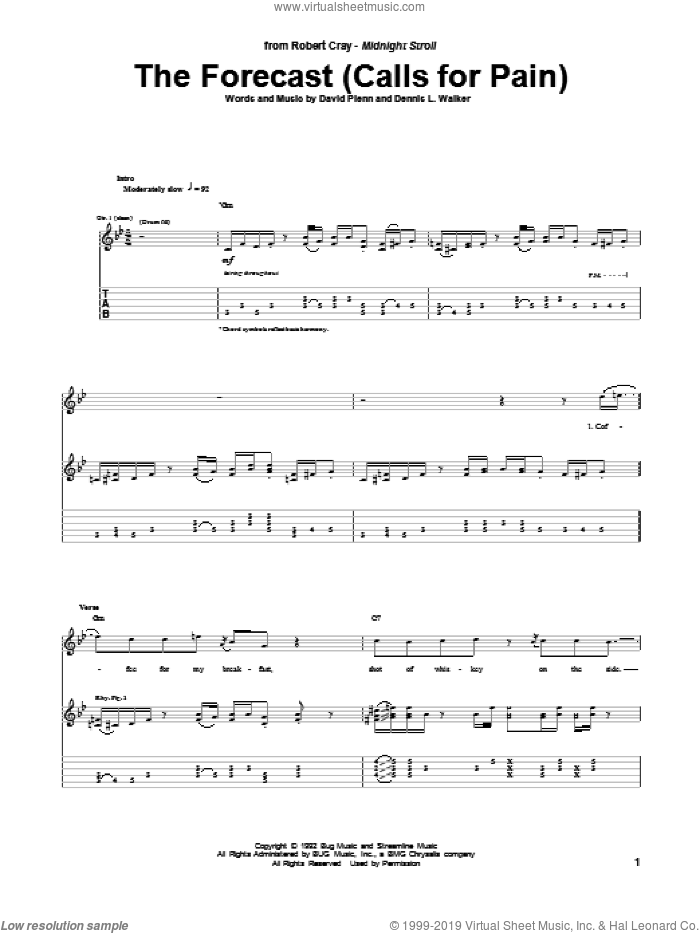 The Forecast (Calls For Pain) sheet music for guitar (tablature) by Dennis L. Walker and Robert Cray. Score Image Preview.
