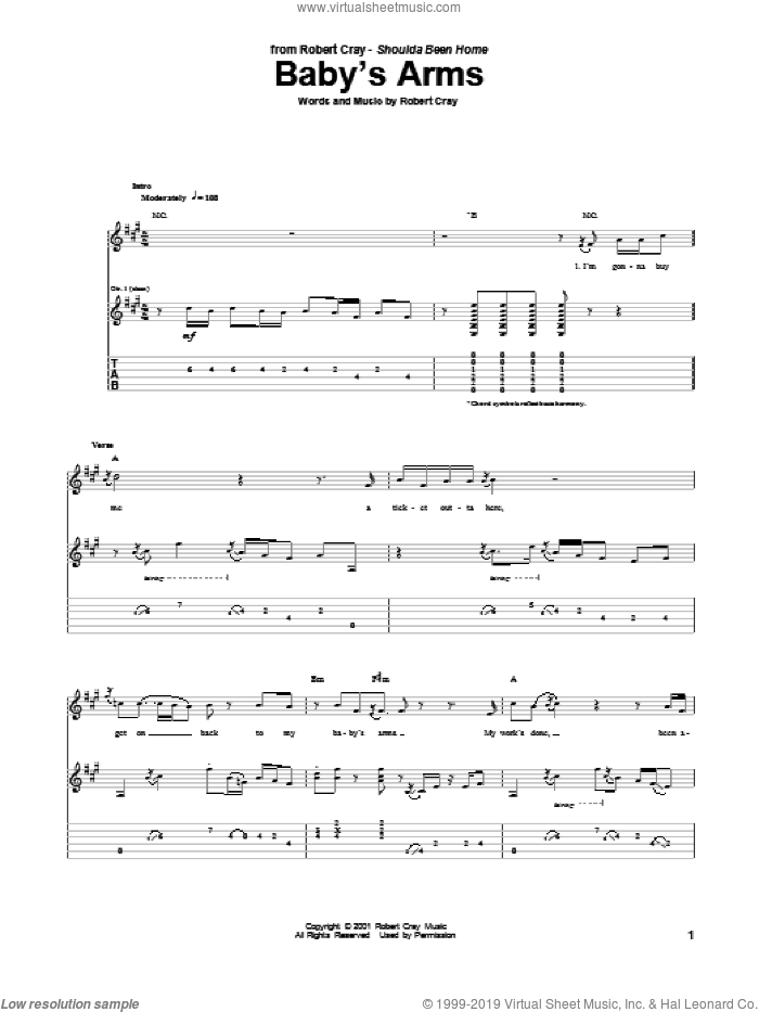Baby's Arms sheet music for guitar (tablature) by Robert Cray, intermediate skill level