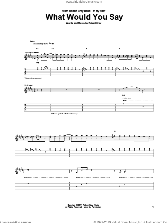 What Would You Say sheet music for guitar (tablature) by Robert Cray. Score Image Preview.