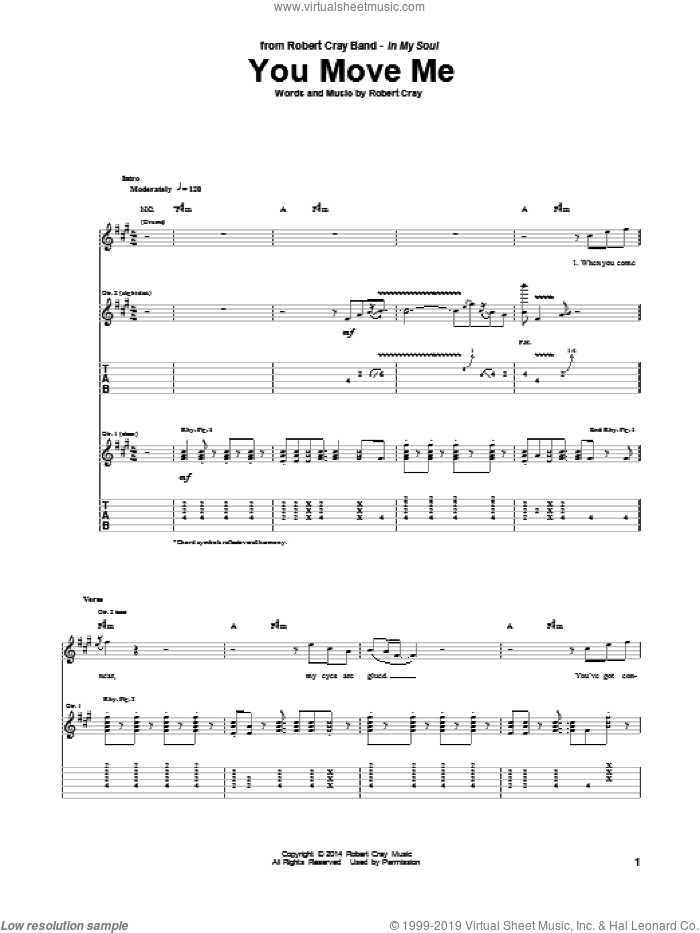 You Move Me sheet music for guitar (tablature) by Robert Cray. Score Image Preview.
