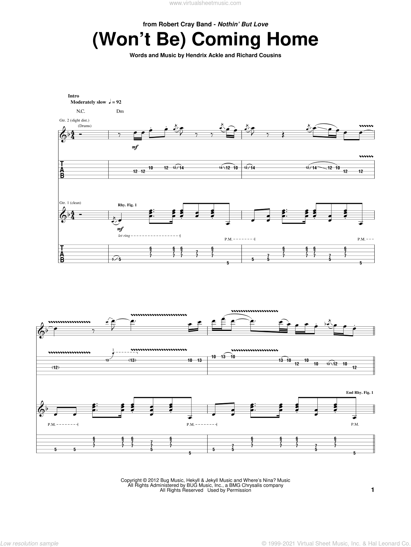 (Won't Be) Coming Home sheet music for guitar (tablature) by Robert Cray, Hendrix Ackle and Richard Cousins, intermediate skill level