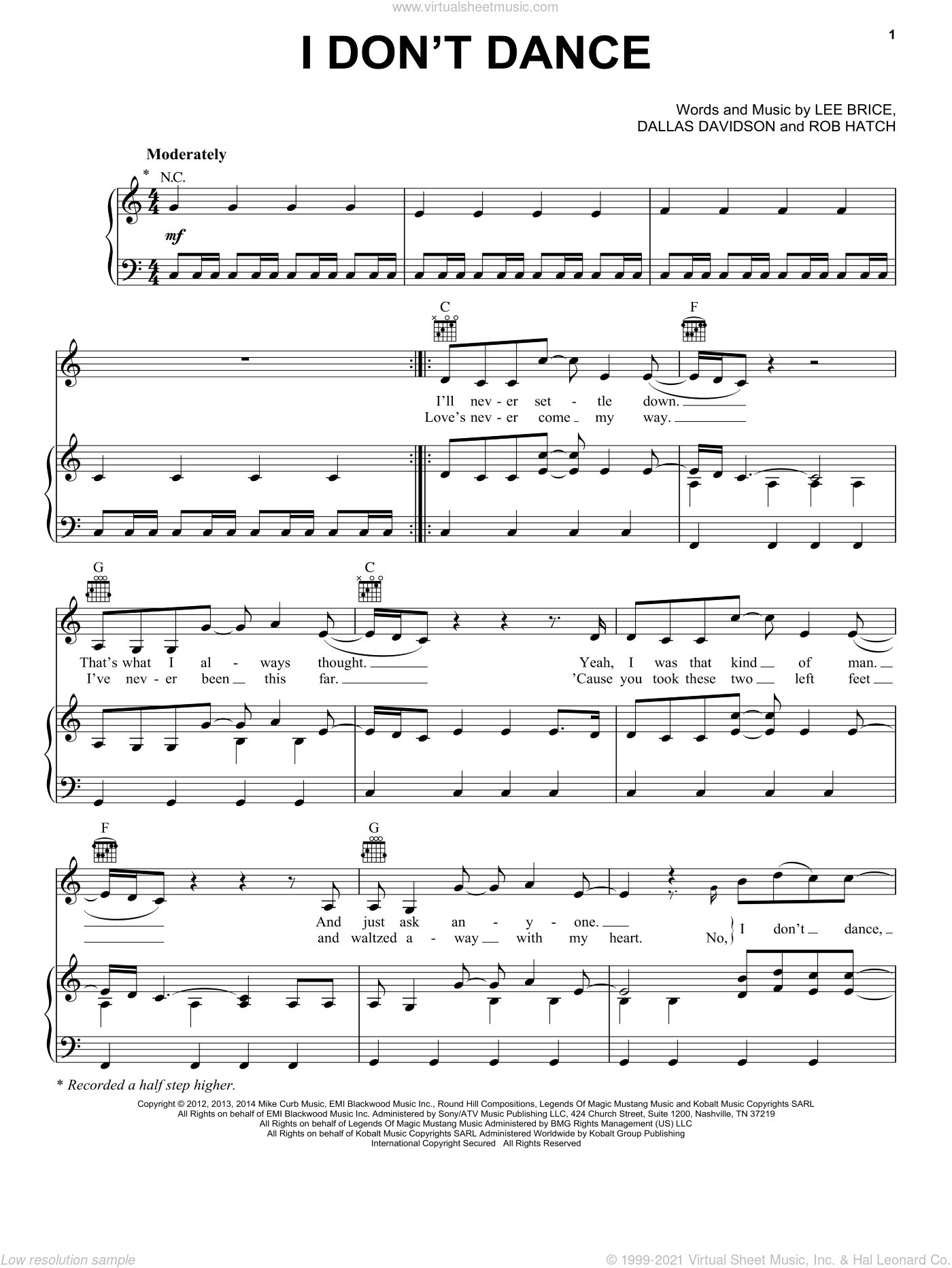 I Don't Dance sheet music for voice, piano or guitar by Lee Brice, Dallas Davidson and Rob Hatch, intermediate skill level