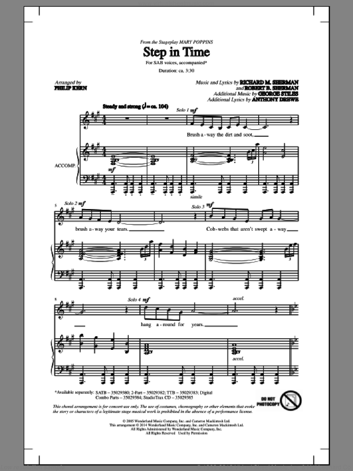 Step In Time sheet music for choir (SAB) by Richard M. Sherman, Anthony Drewe, George Stiles, Philip Kern and Robert B. Sherman, intermediate choir (SAB). Score Image Preview.