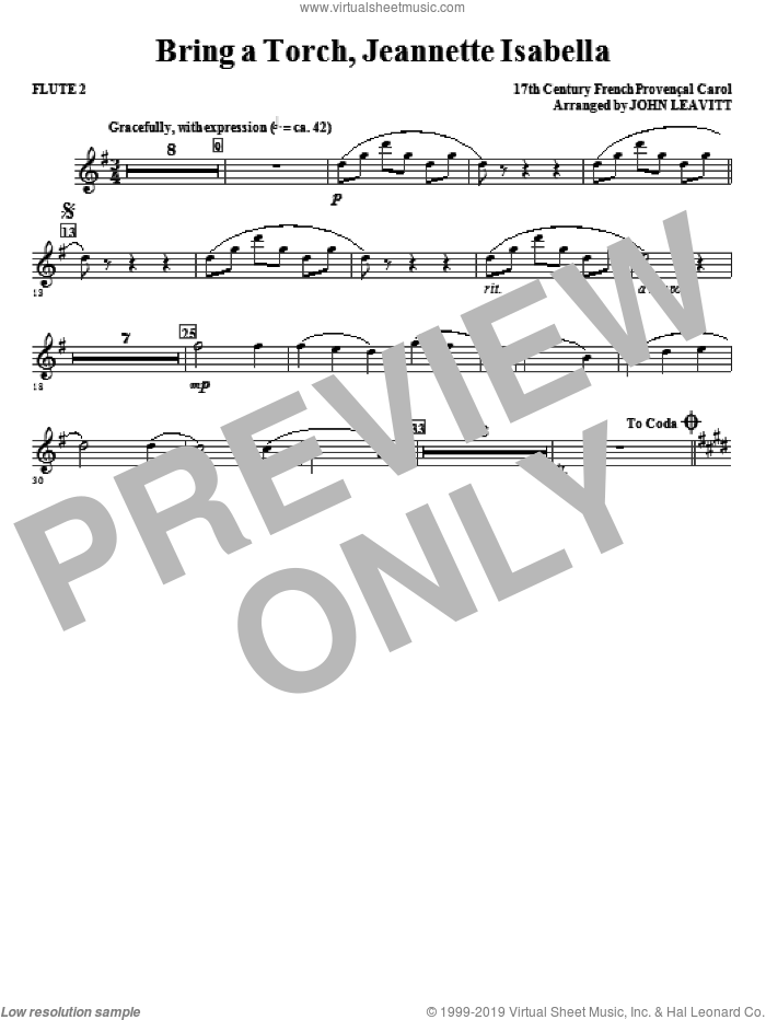 Bring a Torch, Jeanette Isabella sheet music for orchestra/band (flute 2) by John Leavitt and Miscellaneous, intermediate skill level