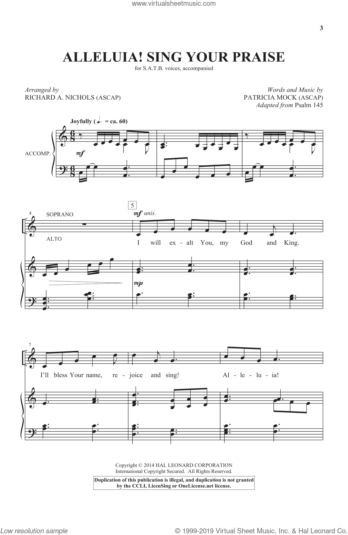 Alleluia! Sing Your Praise sheet music for choir and piano (SATB) by Richard A. Nichols and Patricia Mock. Score Image Preview.