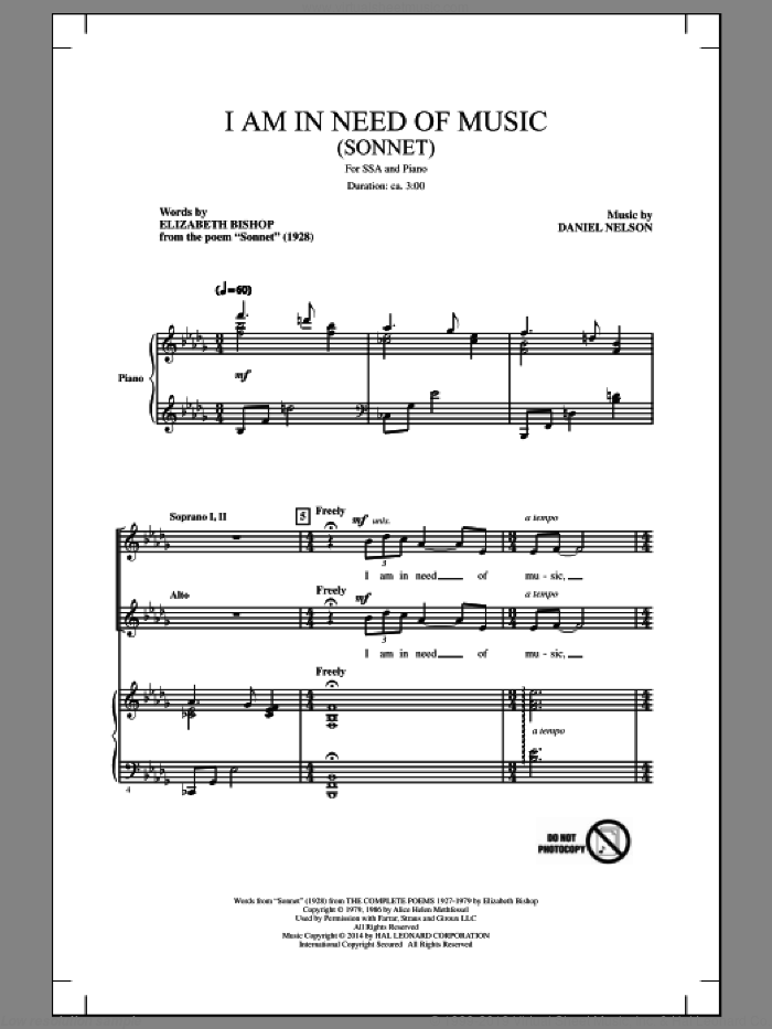 I Am In Need Of Music (Sonnet) sheet music for choir and piano (SSA) by Elizabeth Bishop