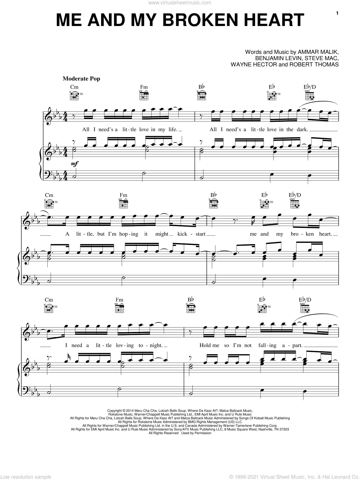 Me And My Broken Heart sheet music for voice, piano or guitar by Wayne Hector, Ammar Malik, Benjamin Levin, Rixton, Rob Thomas and Steve Mac. Score Image Preview.