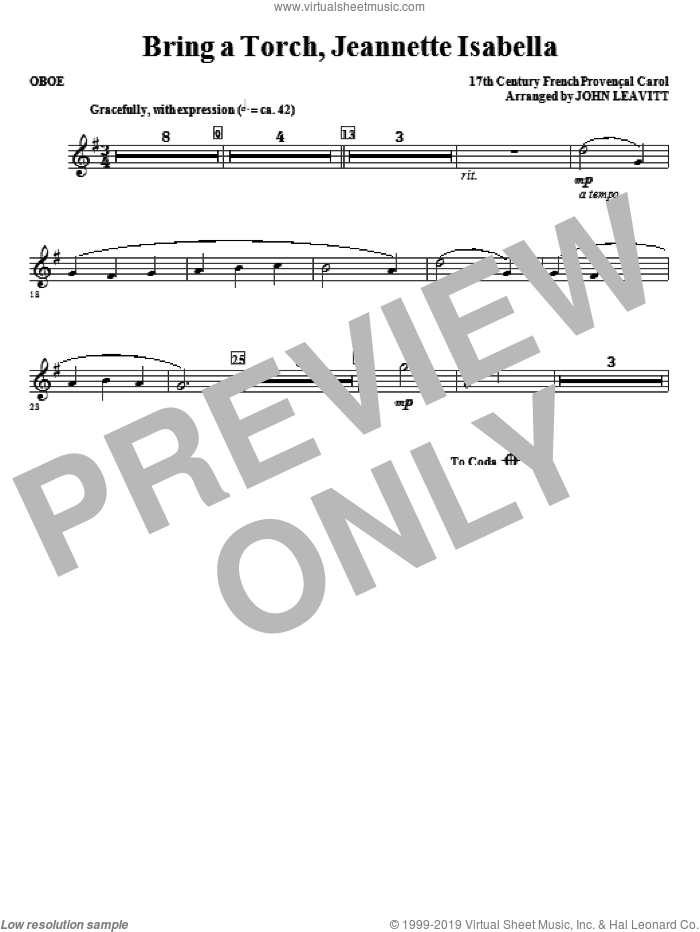 Bring a Torch, Jeanette Isabella sheet music for orchestra/band (oboe) by John Leavitt and Miscellaneous, intermediate skill level