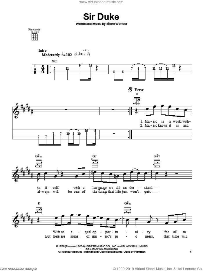 Sir Duke sheet music for ukulele by Stevie Wonder, intermediate skill level