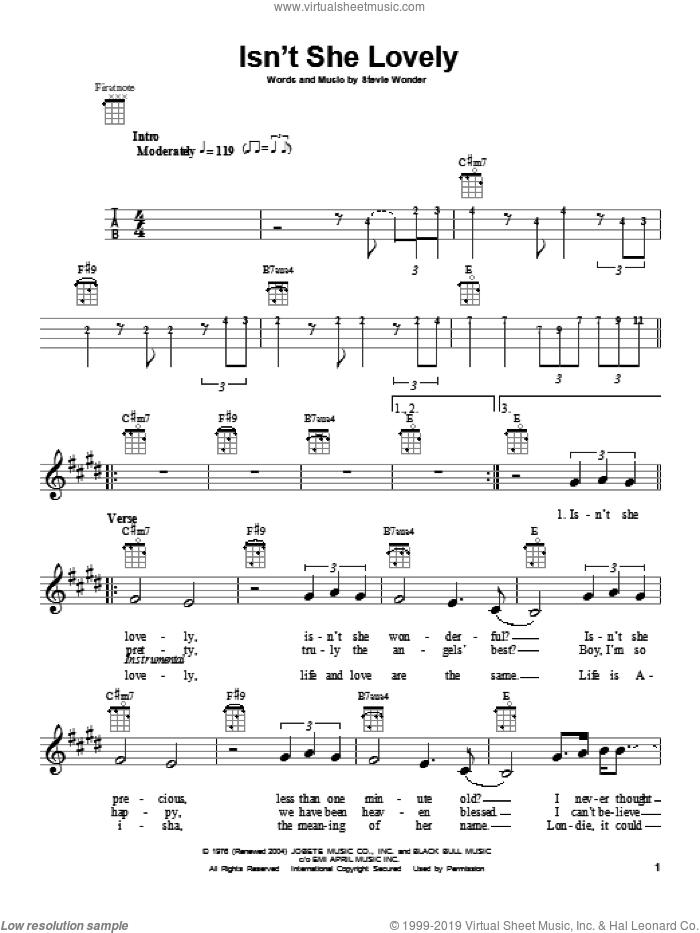 Isn't She Lovely sheet music for ukulele by Stevie Wonder, intermediate skill level
